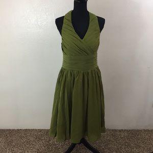 Olive green halter neck dress